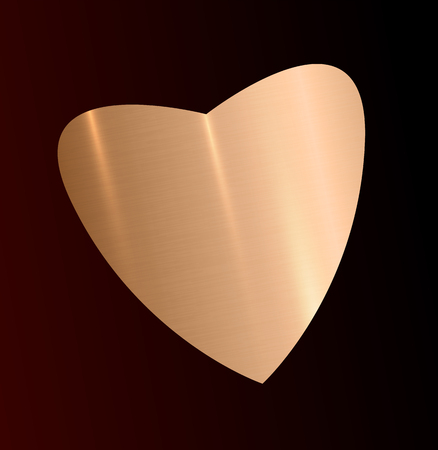 Gold heart symbol with realistic light and shadow. Vector illustration. Gloden texture plate template for lovely gift. Jewelery item tool for love emblem. Elegant holiday design concept. Illustration