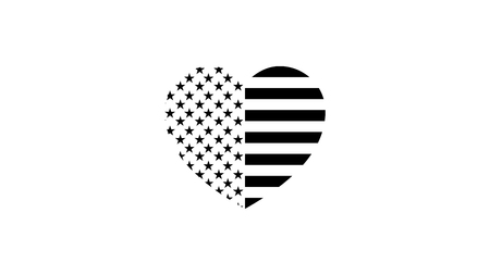 stylish, black and white flag of the United States of America in the form of a heart. vector template