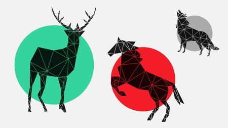 icone piatte, alla moda, alla moda, geometriche con cervo, cavallo, lupo per interni, design, pubblicità, carta da parati, copertine, pareti