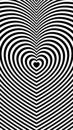 Trendy black and white background with repeating lines in the shape of a heart for your inspiration. 1080 x 1920 px.