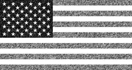 Illustration of the flag of the United States of America. US flag with a mascara effect diagonally.