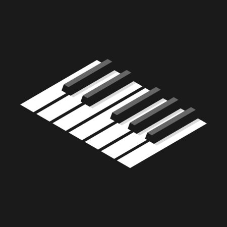 Keyboard piano in an octave for icons  . Isometric style image.