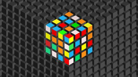 Trendy widescreen geometric background in isometric style.