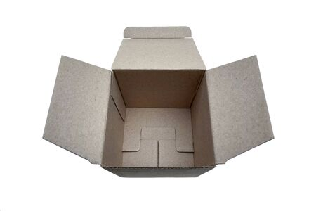 Square open cardboard box isolated on white background for promotion or text. Фото со стока