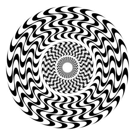 Hypnotic rosette of wavy lines. Flat geometric ornament. Round seamless pattern.
