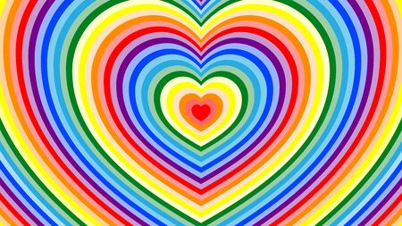 Trendy, abstract background with the shape of the heart in stripes. Bright rainbow colors for design, advertising, cards, packaging. Vectores
