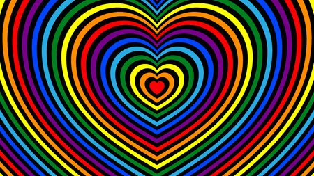 Fashion background with striped heart shape. Bright colors of the rainbow intertwine with black for design, advertising, postcards, packaging.