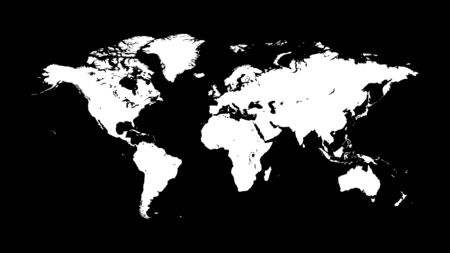 Silhouette of a white world map on a dark black background with the most accurate outline. Template option for use in an industrial interior. Stock fotó - 129544770
