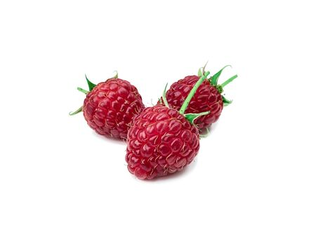 Raspberries. Sweet and fresh berry with a prickly spine and on a white background with a sunny shadow. Summer seasonal fruits. Standard-Bild