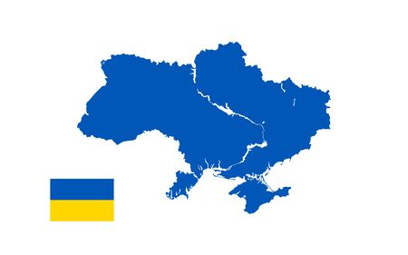 Illustration of a map and flag of Ukraine with ponds and a river. Blue silhouette on a white background.
