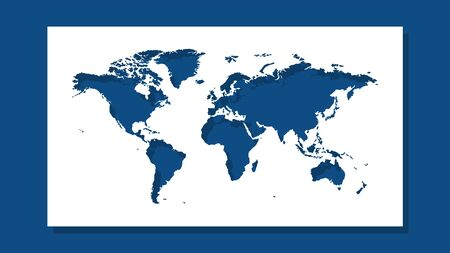 Image of cut out silhouette of a world map. Background in classic blue color with shadow. Template option for use in an industrial interior. Ilustração