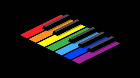 Piano keyboard in octave for icons on a black background. Isometric style image. Seven colors of the rainbow on each key.