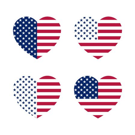 Different variants of a colored heart on a white background in the shape of the USA flag. Set of symbolic hearts from stars and stripes.
