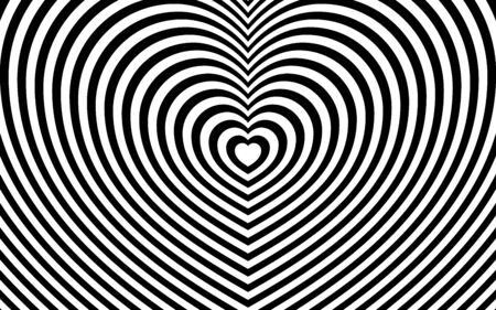 Striped heart shaped pattern. Fashionable ornament with the effect of illusion. Repeating black and white lines. Flat minimalism squared.