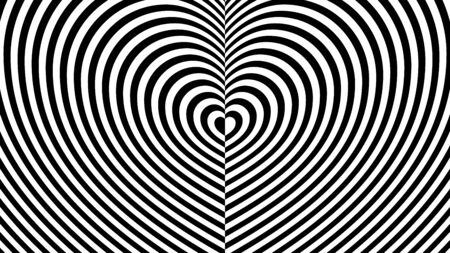Fashionable ornament with the effect of optical illusion. Striped pattern in the form of an endless heart on two sides from repeating black lines. Flat minimalism.