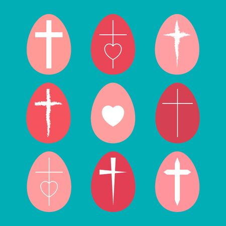 Creative set of easter eggs painted in pink pastel colors on a delicate blue background. The heart and the options of the crosses. Flat minimalism. Çizim