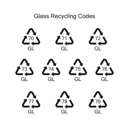 Recycling codes for glass.