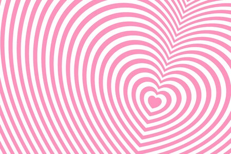 Striped heart shaped pattern. Fashionable ornament with the effect of illusion.