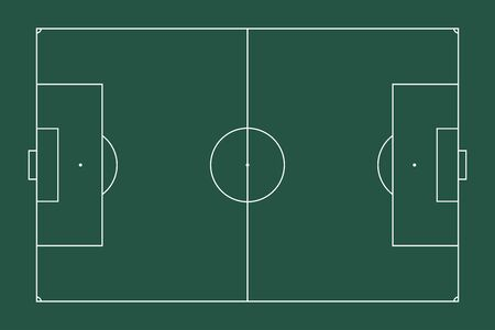 Illustration of a sports European football field. Top view for easy use in strategy or background. White marking lines on green. Flat style. Stock fotó