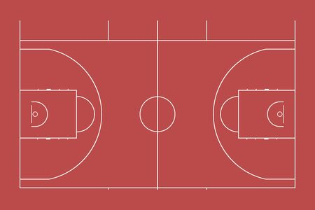 Illustration of a sports basketball court. Top view for easy use in strategy or background.