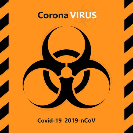 Coronavirus. Symbol of the warning about the biological hazard of mankind.
