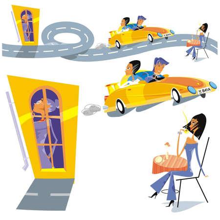 road, convertible, family, love Vector