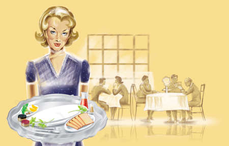 pin up a waitress in a cafe with a tray Stock Photo - 7057986