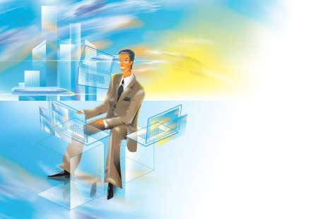 runs: Business Man runs over three notebooks