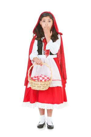 Halloween series with cute children dressed as Dracula, a pirate, and Little Red Riding Hood.  Isolated on white.
