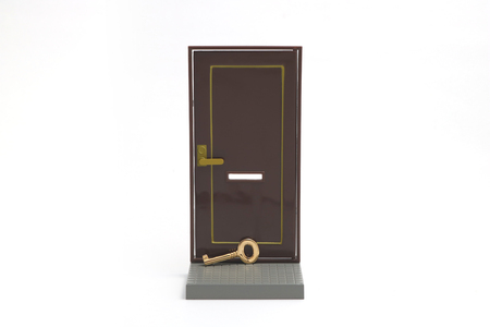 measures white house: Home security. Miniature door and key on white background.