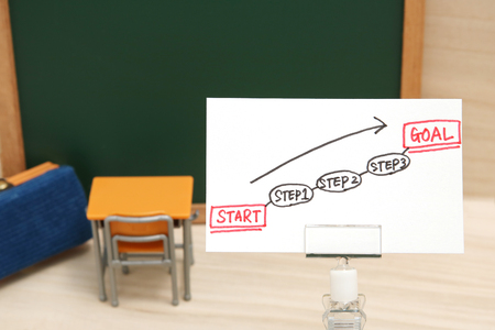 Start and Goal written on paper with the study tool as the background. Concept of step up of learning. Stock Photo