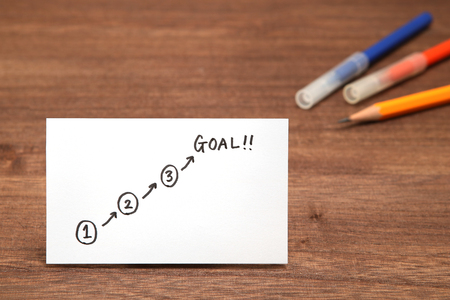 Start and Goal written on paper with the study tools as the background. Concept of step up of learning.
