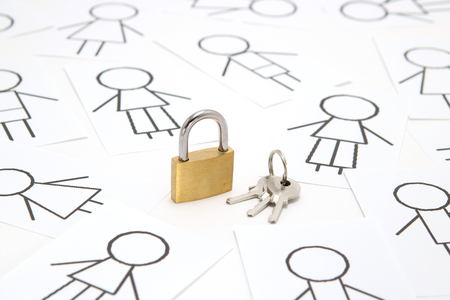 Padlock and keys and many people on white background. Concept of internet security. Stock Photo