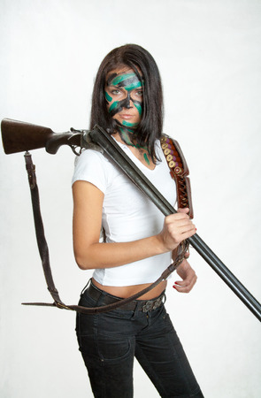girl with a gun, hunting rifle Stock Photo