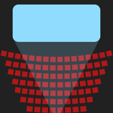 Cinema icon, a blue screen and rows of seats in the theater Stock Illustratie