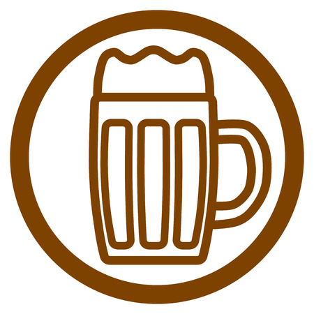 Icon of a glass of beer in the form of a contour in a circle design.