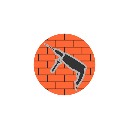 Icon construction work symbol, brick wall on a white background Illustration