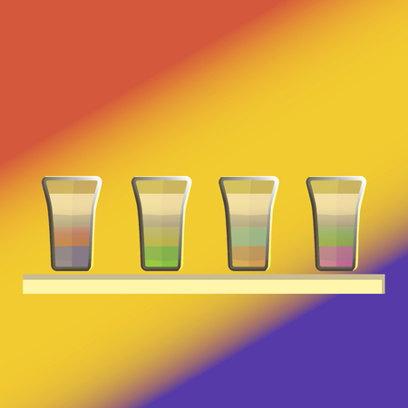 Tropical dance colorful drink on bright cheerful background