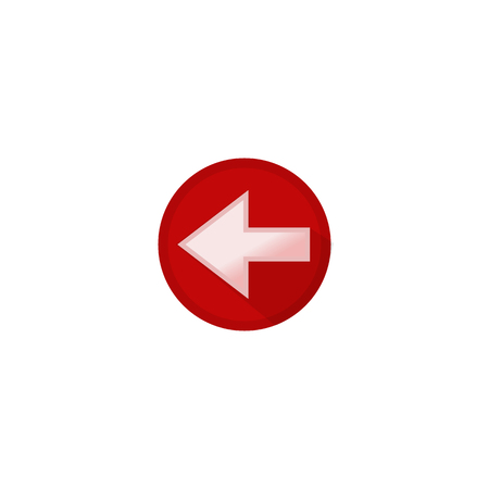 Icon pointer button white left arrow in a red circle Illustration