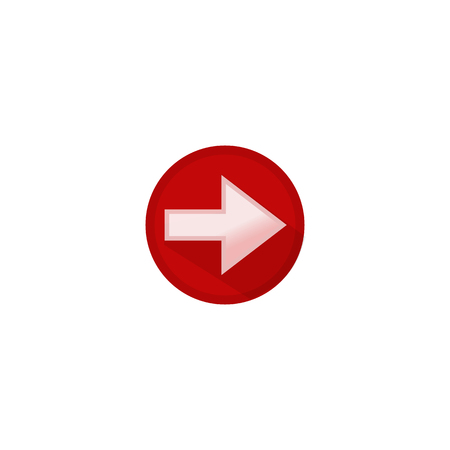 Icon pointer button white arrow to the right in a red circle Illustration