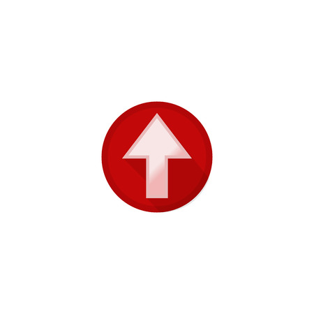 Icon pointer buttons white up arrow on red background