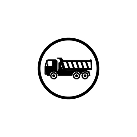 Icon dump truck with a straight cab on a white background Stock Photo