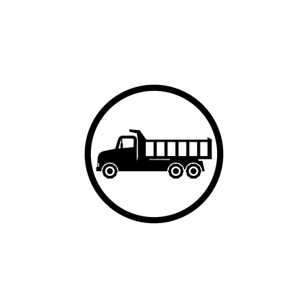 Icon black dump truck on a white background in a circle