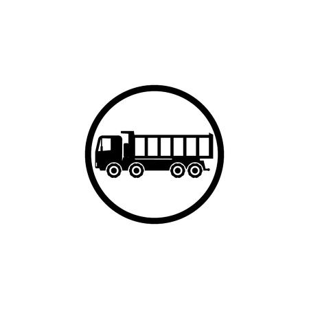Icon four wheel black dump truck on white background