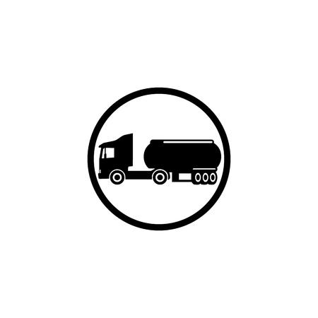Icon designation gasoline truck on a white background in a black circle Illustration