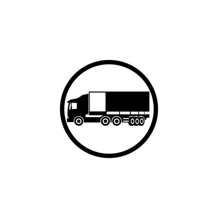 Icon long-range truck with a trailer in a black circle