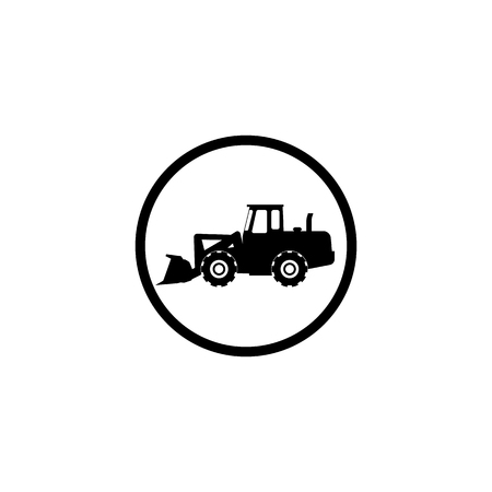 Grader icon on white background in black circle