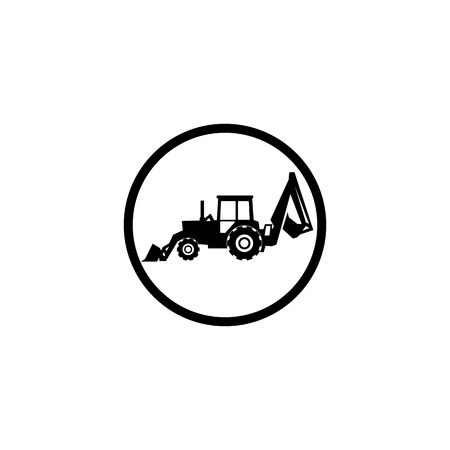 Tractor icon on white background in black circle Illustration