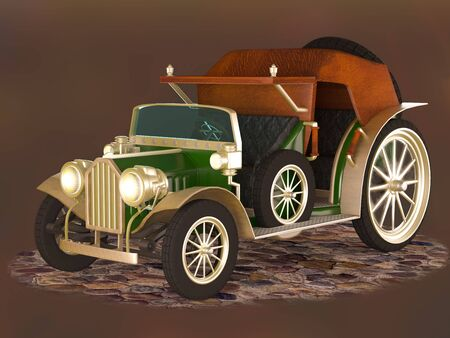Vintage car of green color for the transportation of passengers on a dark background.
