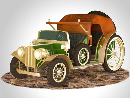 3D illustration and 3D rendering of an old fairytale car. Stock Photo